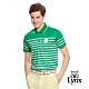 【Lynx Golf】男款涼感舒適滿板橫條印花短袖POLO衫-綠色 product thumbnail 2