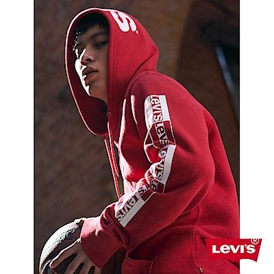 Levis 男款 重磅帽T 復古運動風 帽緣LOGO標語