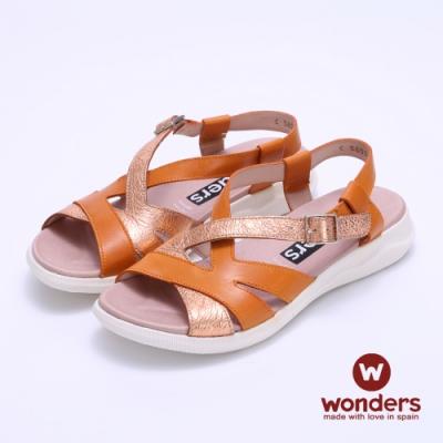 WONDERS西班牙進口 雙色拼接平底後帶涼拖鞋-橘色