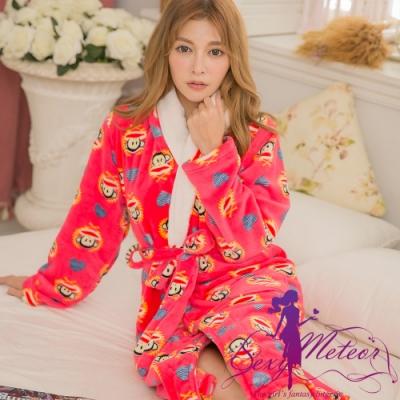 睡衣 全尺碼 猴子水貂絨睡袍(珊瑚紅) Sexy Meteor