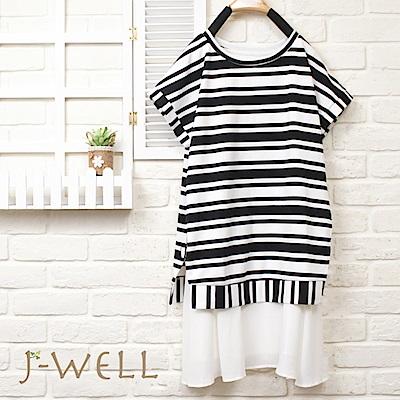 J-WELL 厚面料條紋拼接短袖洋裝(2色)