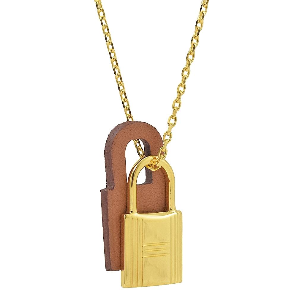 HERMES KELLY款鎖頭造型皮革項鍊(金/咖)