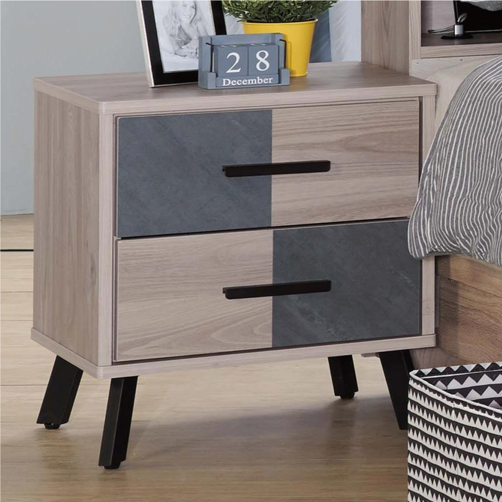 文創集 柏法斯 現代1.6尺二抽床頭櫃/收納櫃-49x40x54cm免組