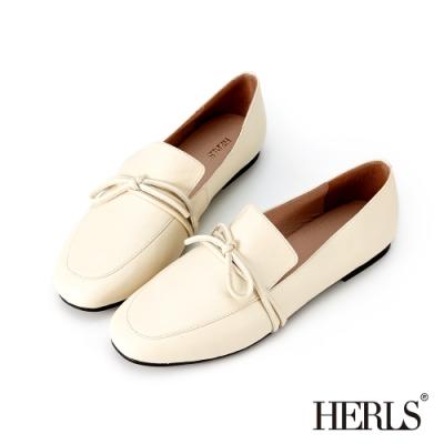 HERLS樂福鞋-全真皮打結圓頭超軟平底鞋樂福鞋-米色