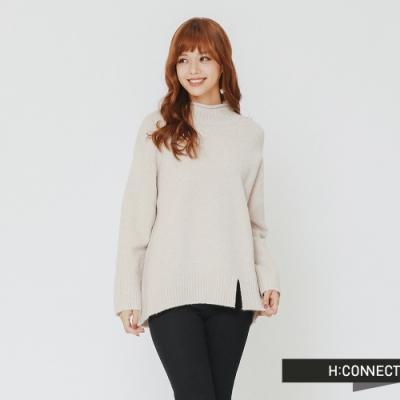 H:CONNECT 韓國品牌 女裝 - 開岔設計高領針織上衣-灰(快)