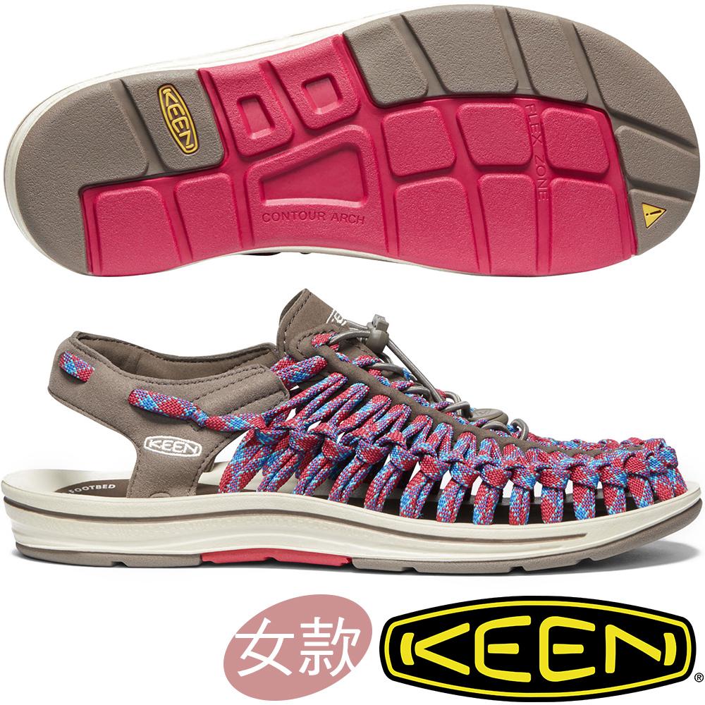 KEEN 1020800咖啡/紅藍 Uneek Flat Cord女戶外編織涼鞋
