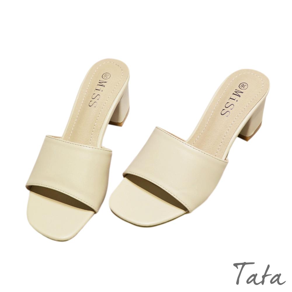 氣質素色中跟拖鞋 共二色 TATA