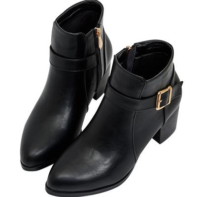 AIR SPACE 釦環設計時尚粗跟短靴(黑)