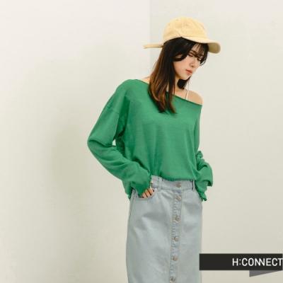 H:CONNECT 韓國品牌 女裝 -柔軟微透捲邊針織上衣-藍綠色