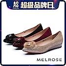 低跟鞋 MELROSE 奢華心鑽貂毛飾羊麂皮尖頭楔型低跟鞋-黑 / 紅 / 金