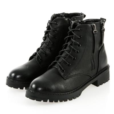 JMS-帥氣元素擦色綁帶拉鍊短靴-黑色