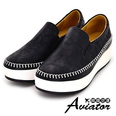 Aviator*韓國空運-正韓簡約皮革縫線厚底懶人鞋-黑