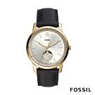 FOSSIL MINIMALIST MOONP 淡金色月相黑色皮革手錶( FS5571)
