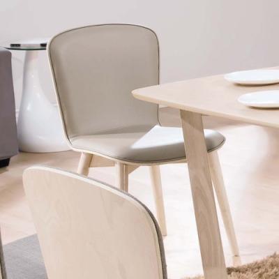 H&D 喬克洗白淺咖啡皮餐椅