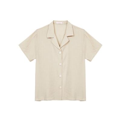 Shester55-簡約排扣短袖襯衫(兩色)-女【TSH235】