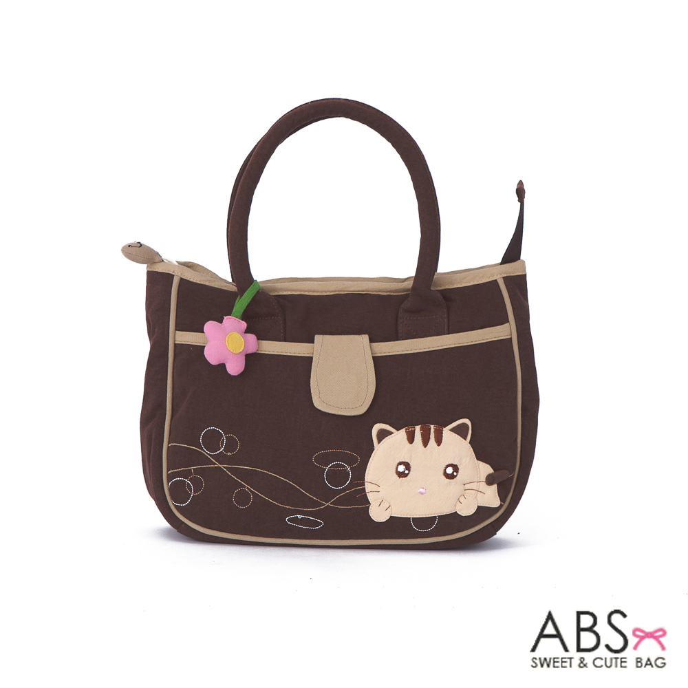 ABS貝斯貓 甜心小花趴趴貓布包小提袋(咖啡)88-171