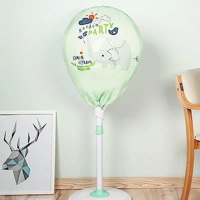 半島良品 簡約時尚全罩式電風扇防塵罩- 綠底小象