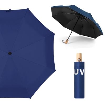 幸福揚邑 降溫抗UV防風防撥水大傘面全自動開收木柄晴雨摺疊傘(深藍)