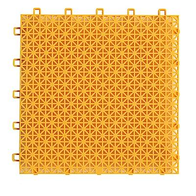 半島良品 加大鏤空隔水防滑浴室墊10入(26x26cm)-黃色