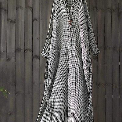 長版亞麻格子襯衫裙棉麻洋裝-設計所在