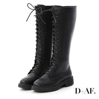 D+AF 玩酷魅力.加厚底綁帶馬汀長靴*黑