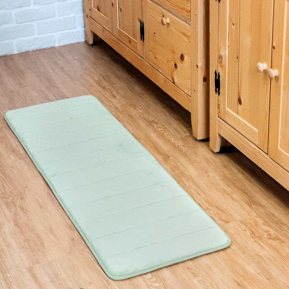 樂嫚妮 長地墊 走道墊 可洗慢回彈乳膠底40X120cm-綠