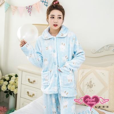 保暖睡衣 微笑白兔 法蘭絨二件式長袖居家衣褲組(藍F) AngelHoney天使霓裳