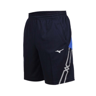 MIZUNO 男 針織短褲 丈青藍白