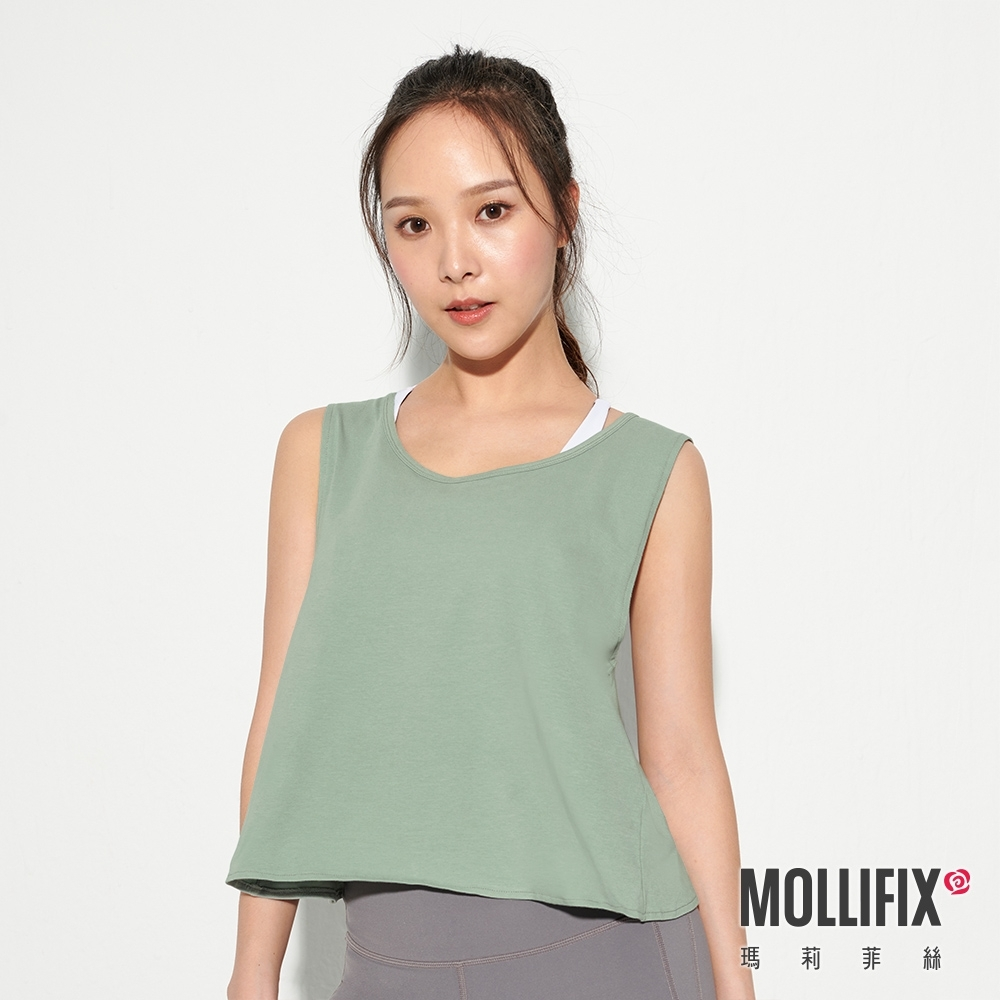 Mollifix 瑪莉菲絲 後交叉挖背短版運動背心 (綠)