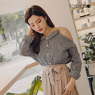 東京著衣 氣質甜甜串珠肩帶露肩格紋襯衫(共二色)
