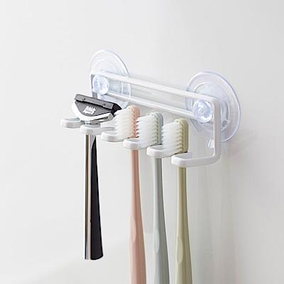 日本【YAMAZAKI】tower 吸盤式吊掛牙刷架(白)★浴室/牙刷架/置物架