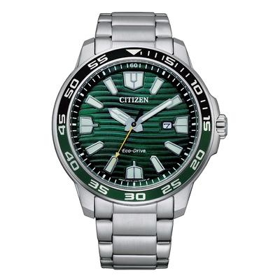 CITIZEN GENT S 光動能海洋波紋型男腕錶-銀X綠-AW1526-89X-44.5mm