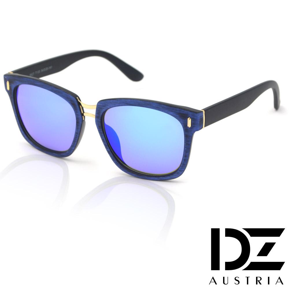 DZ 獨特彩木手工立體紋 防曬太陽眼鏡墨鏡(藍框冰藍膜)