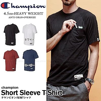 運動品牌CHAMPION BASIC斜袖口袋短T 美規AO250 素色 無肩線