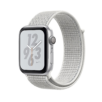 Apple Nike+S4 GPS 44mm銀色鋁金屬錶殼搭配雪峰白色Nike運動型錶環