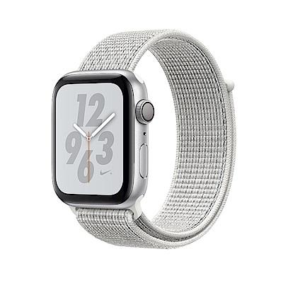 Apple Nike+S4 LTE 44mm銀色鋁金屬錶殼搭配雪峰白色Nike運動型錶環