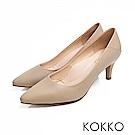 KOKKO - 日本同步尖頭拼接舒壓真皮高跟鞋 - 復古灰
