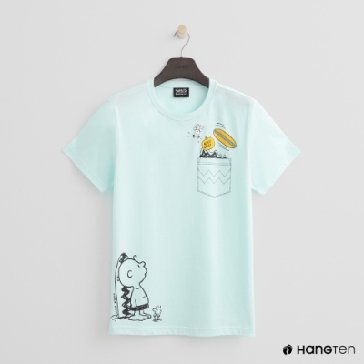 Hang Ten - 男裝 - Charlie Brown-衝浪圖樣短T-粉綠