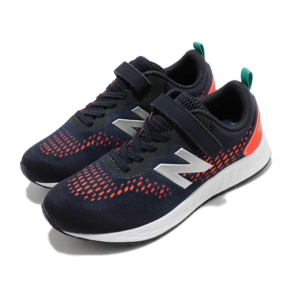 New Balance 慢跑鞋 Fresh Foam 寬楦 運動 童鞋 紐巴倫 輕量 透氣 舒適 中大童 球鞋 藍 橘 YAARIIR3W