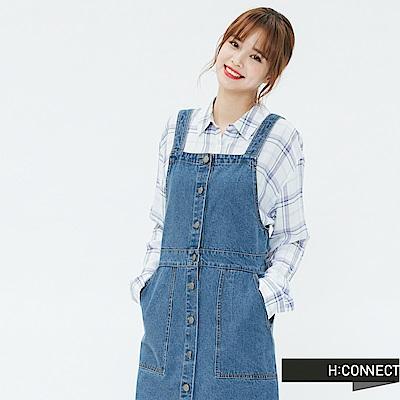 H:CONNECT 韓國品牌 女裝-排釦雙口袋牛仔吊帶裙-藍