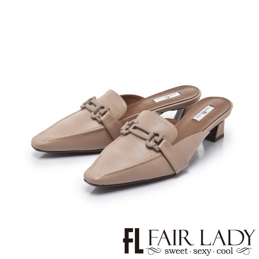 FAIR LADY 優雅小姐 馬蹄釦縫線低跟穆勒鞋 可可棕