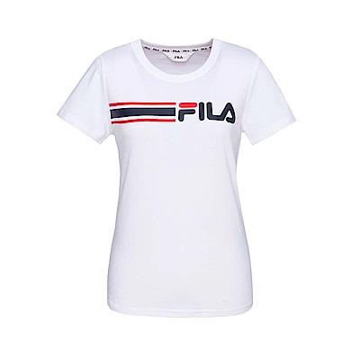 FILA 女款短袖圓領T恤-白色 5TET-1509-WT