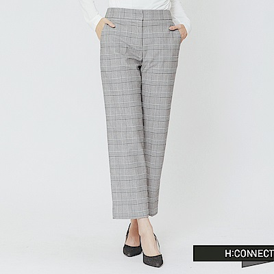 H:CONNECT 韓國品牌 女裝-俐落格紋西裝褲-黑