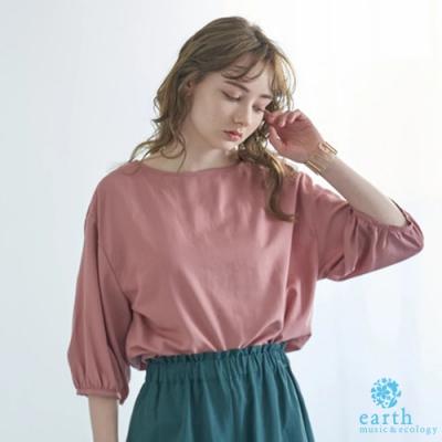 earth music 亞麻混紡2WAY正反兩穿五分袖上衣