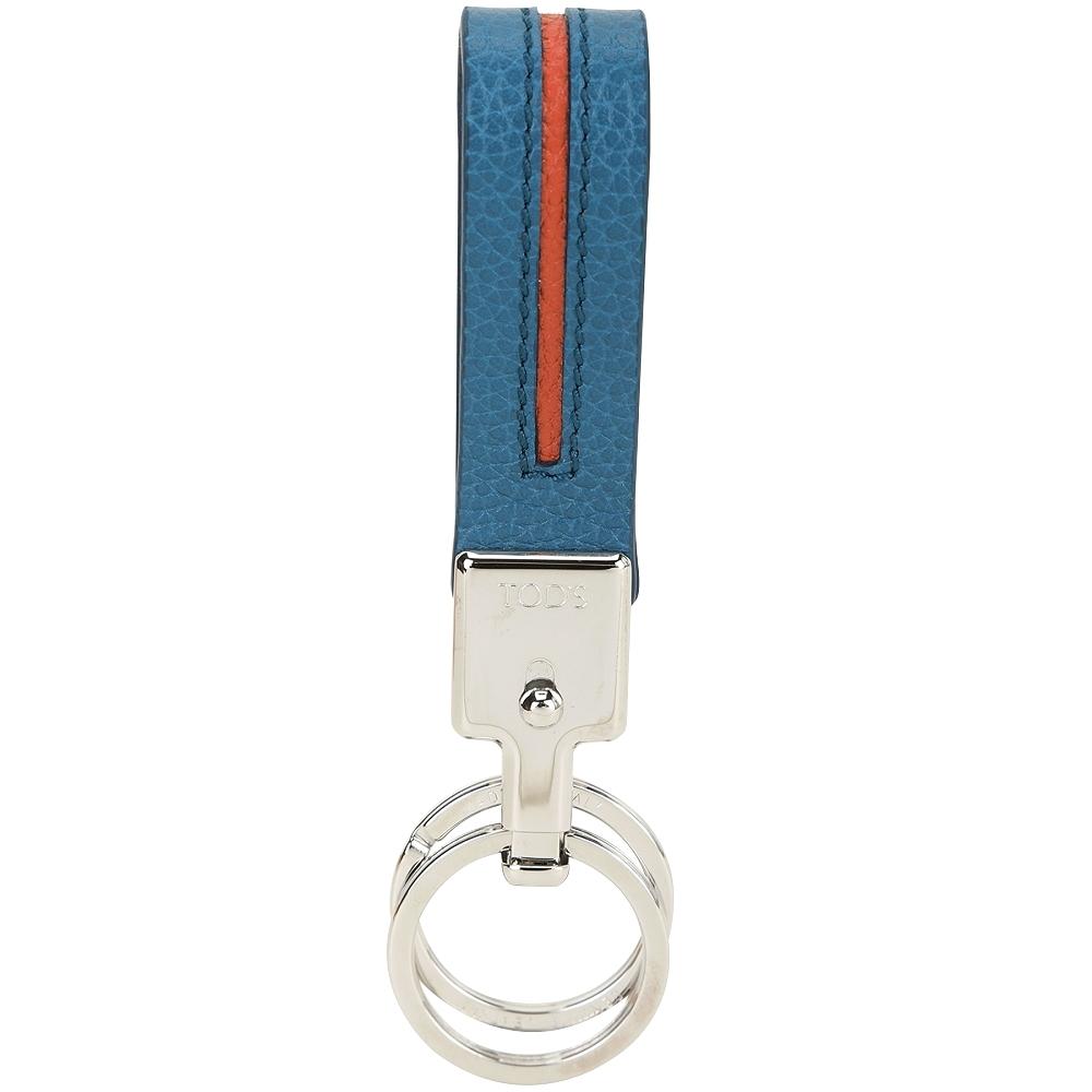 TOD'S 撞色皮革吊飾/鑰匙圈(藍x橘)