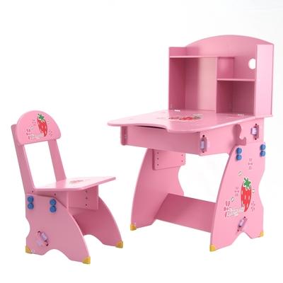 EMC 新款防夾手木質兒童升降成長書桌椅(粉紅草莓)