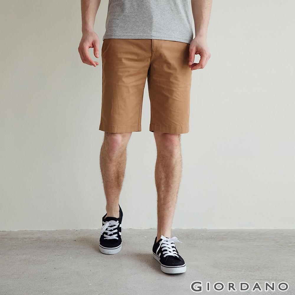 GIORDANO 男裝素色修身百慕達短褲 - 13 可可棕