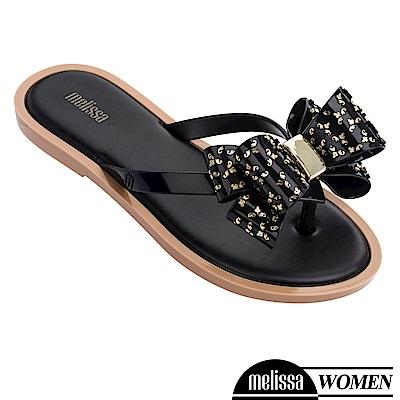 Melissa 蝴蝶結造型涼拖鞋-黑