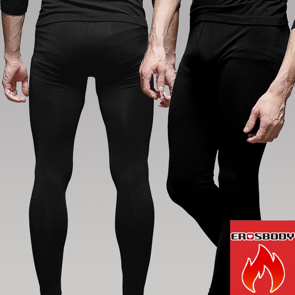 男日本機能纖維平織衛生褲保暖發熱褲 黑色 EROSBODY
