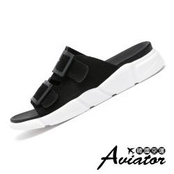 Aviator韓國空運-率性簡約皮革雙帶軟Q涼拖鞋-紙飛機預+現